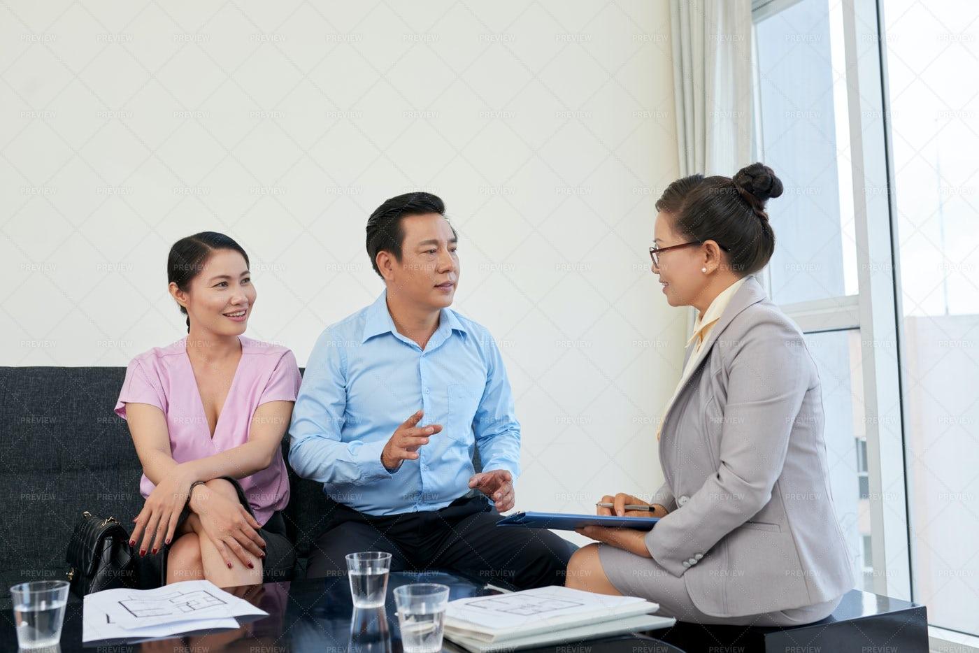 Meeting With Broker: Stock Photos