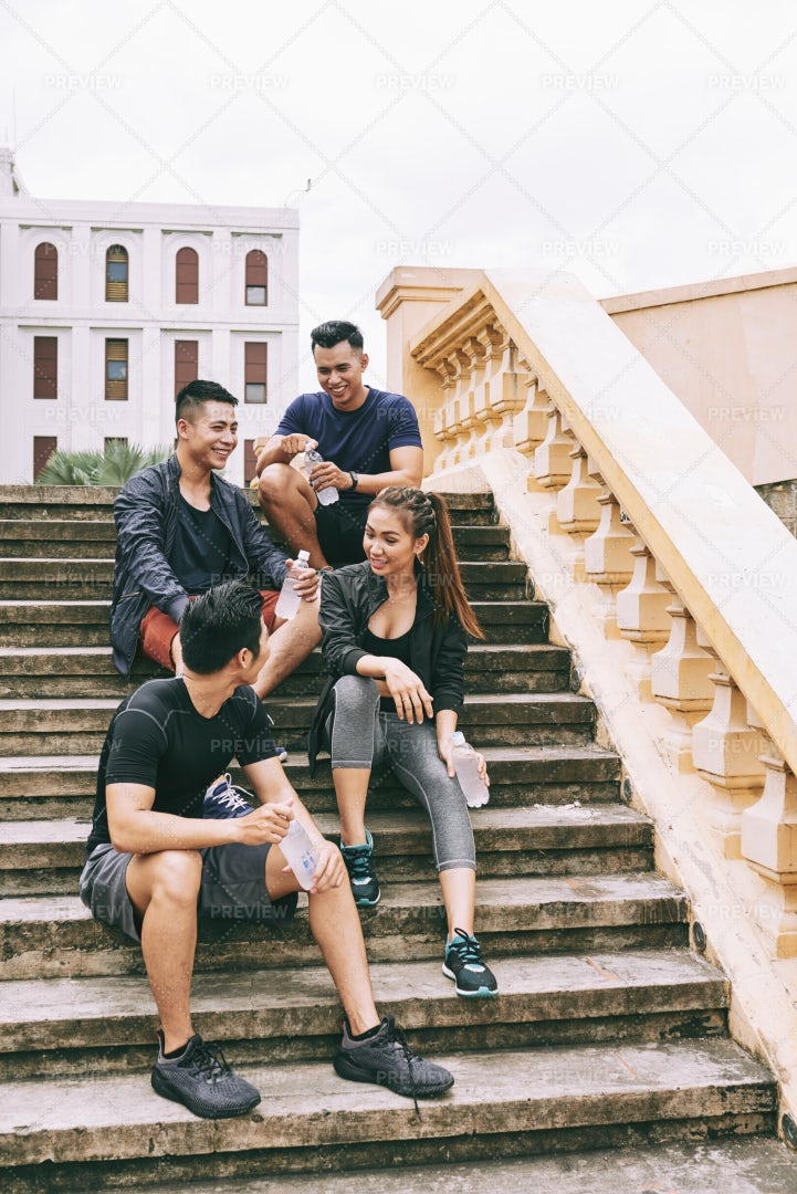 Resting On The Stairs: Stock Photos