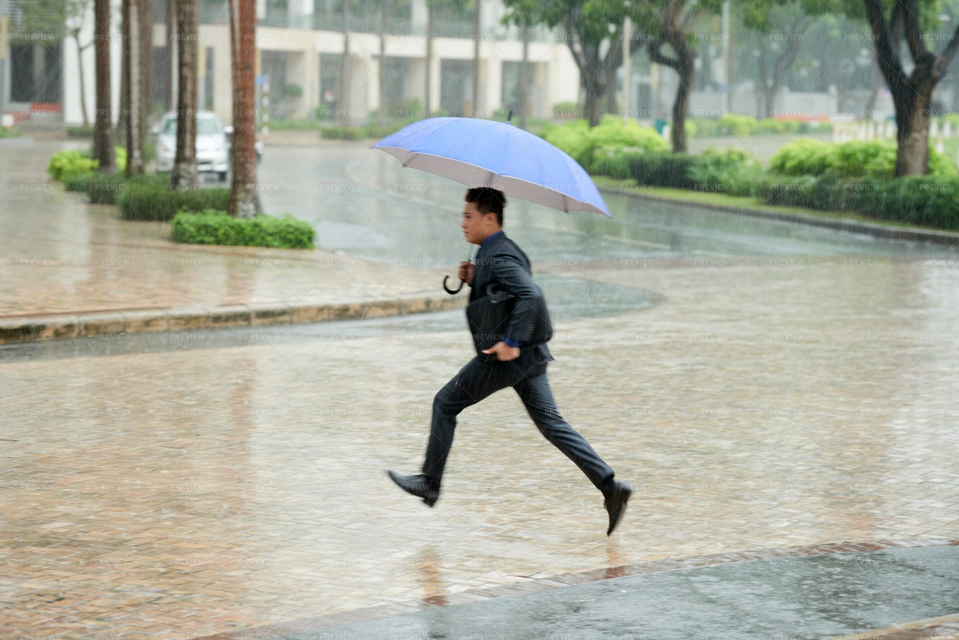 Hurrying Home In Pouring Rain: Stock Photos