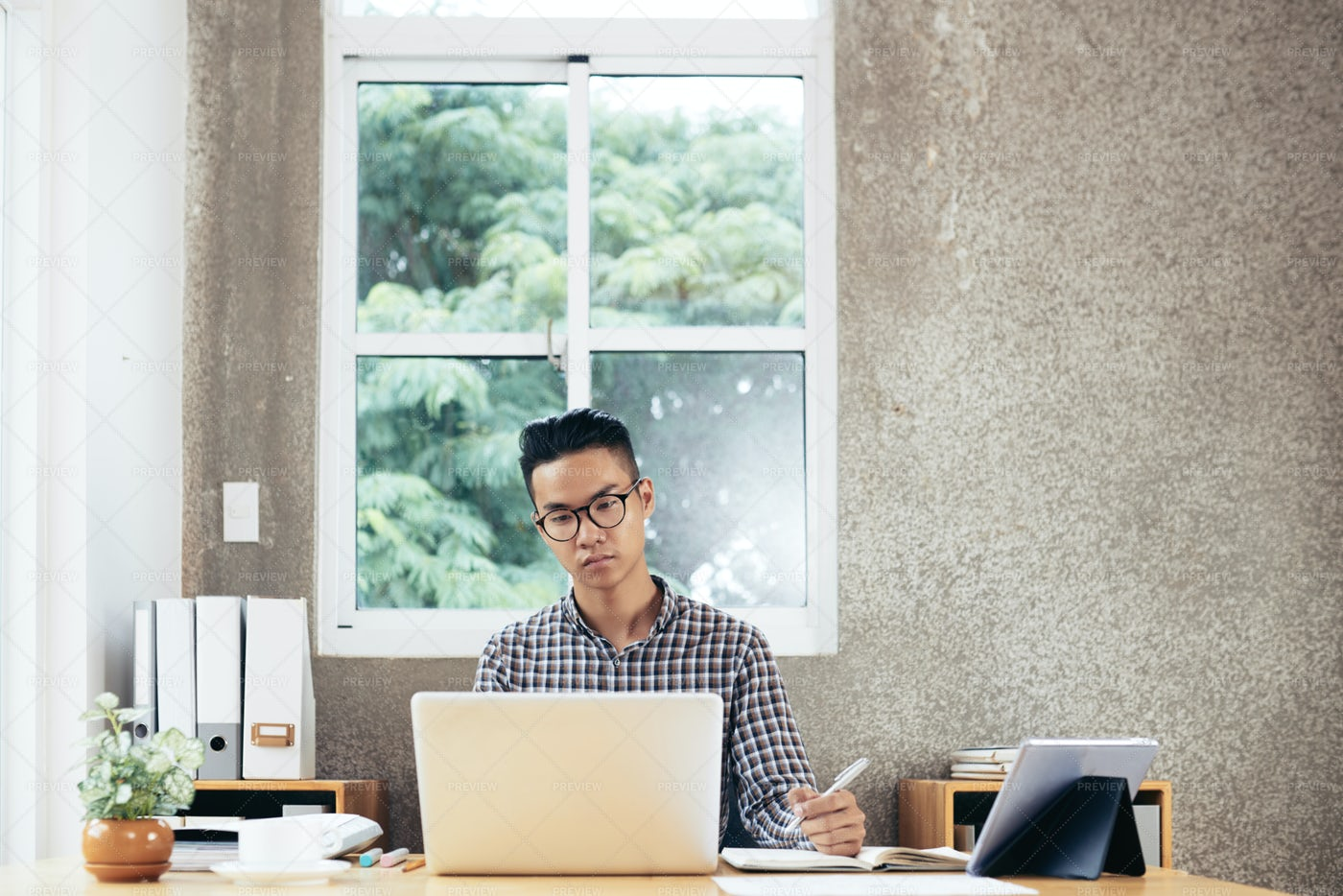 Manager Working In Office: Stock Photos