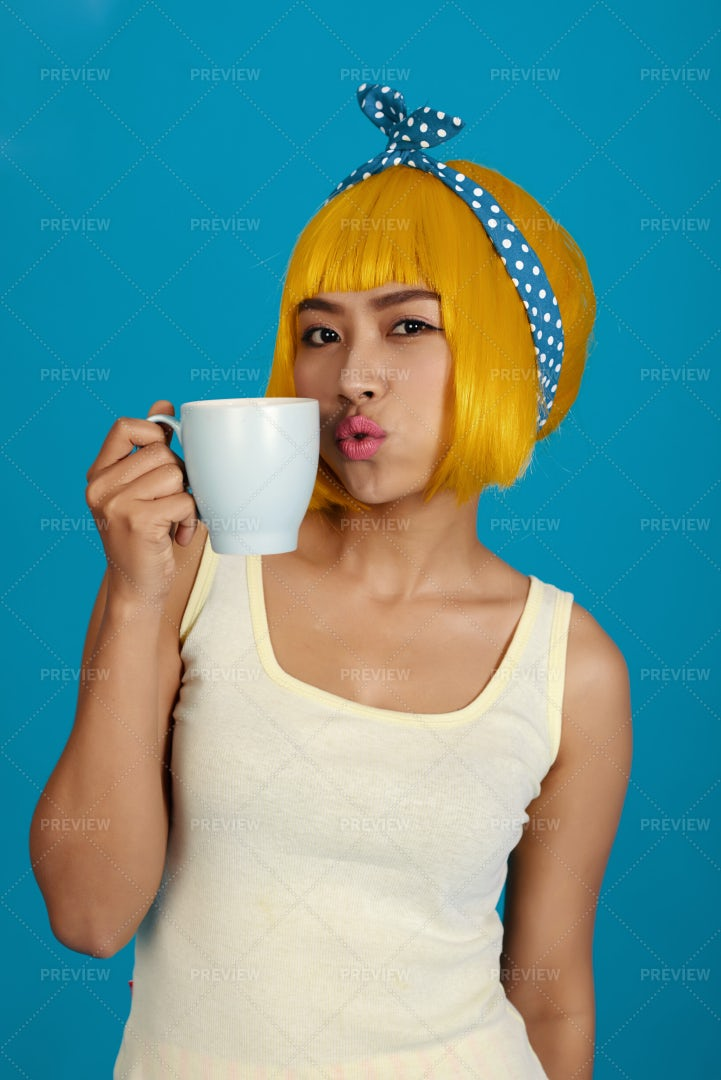 Woman With Coffee Cup: Stock Photos