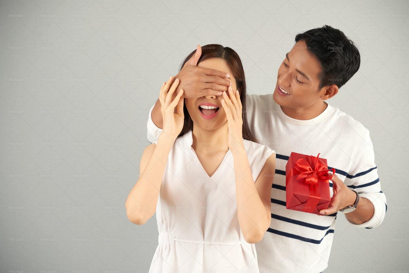 Valentine Surprise For Girlfriend: Stock Photos