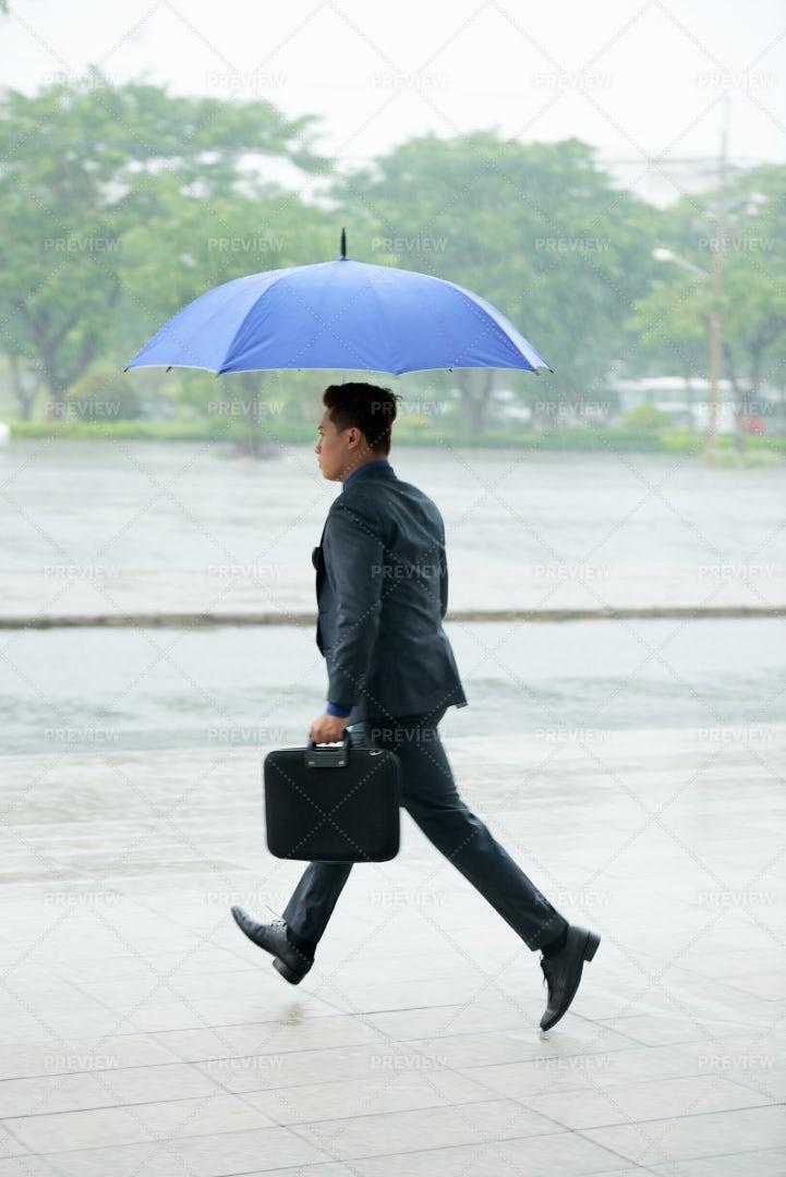Businessman Running With Umbrella: Stock Photos