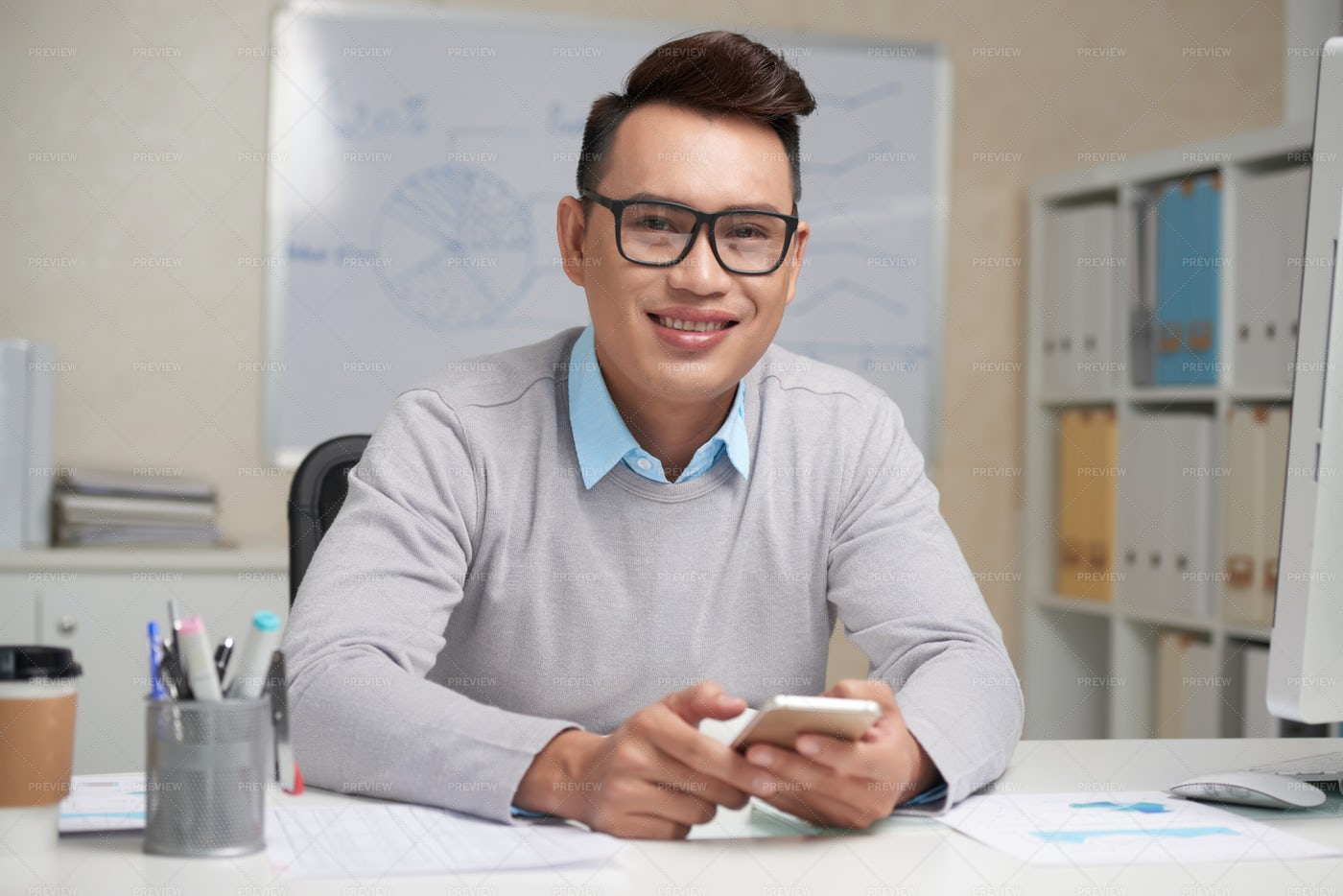 Cheerful Young Businessman: Stock Photos