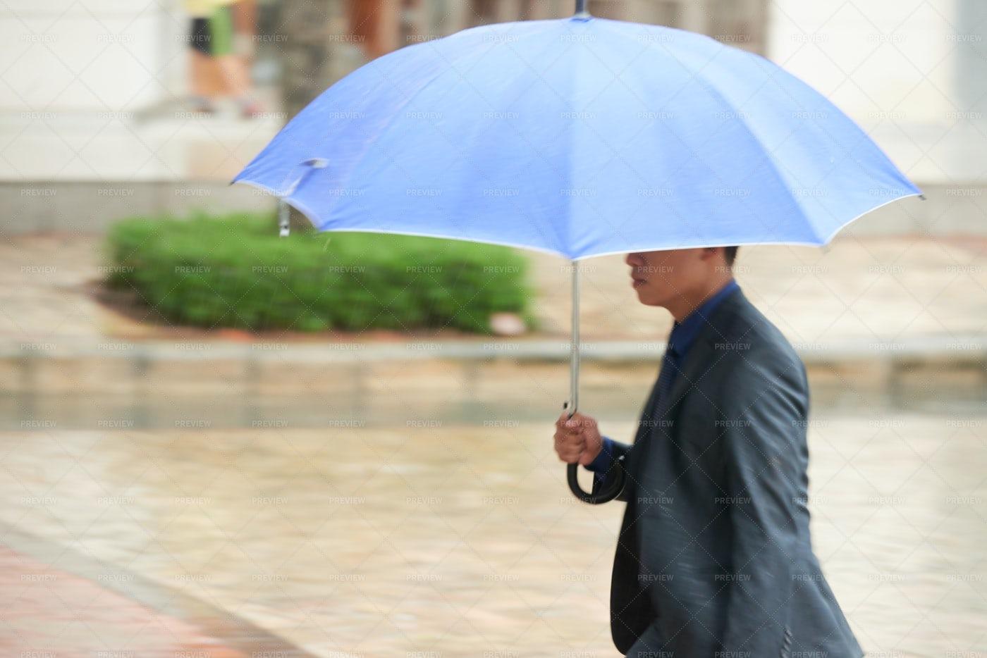 Asian Businessman Under Umbrella: Stock Photos