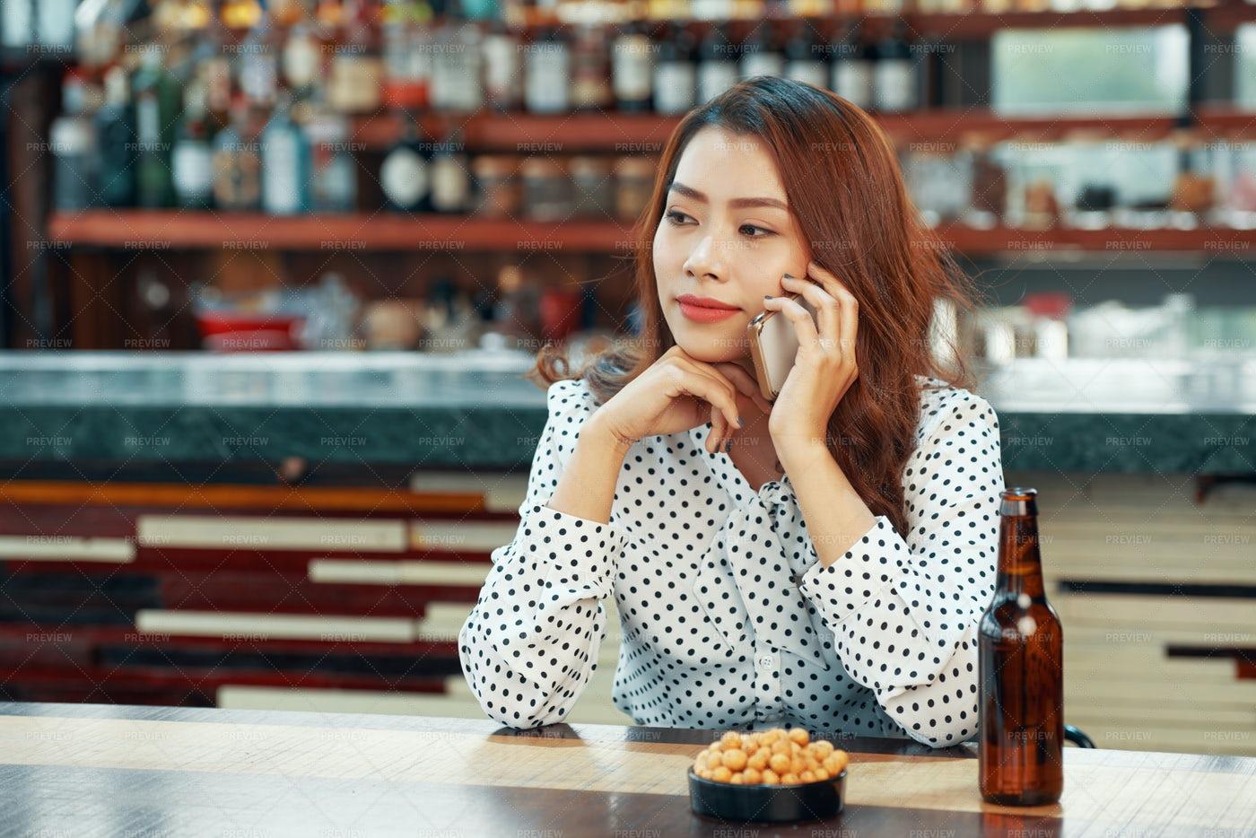 Woman In Pub: Stock Photos