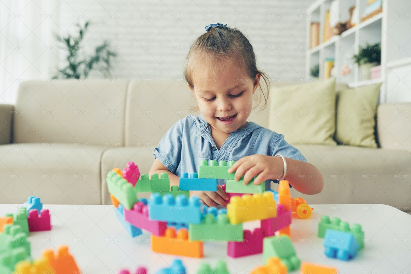 Playing With Construction Blocks: Stock Photos
