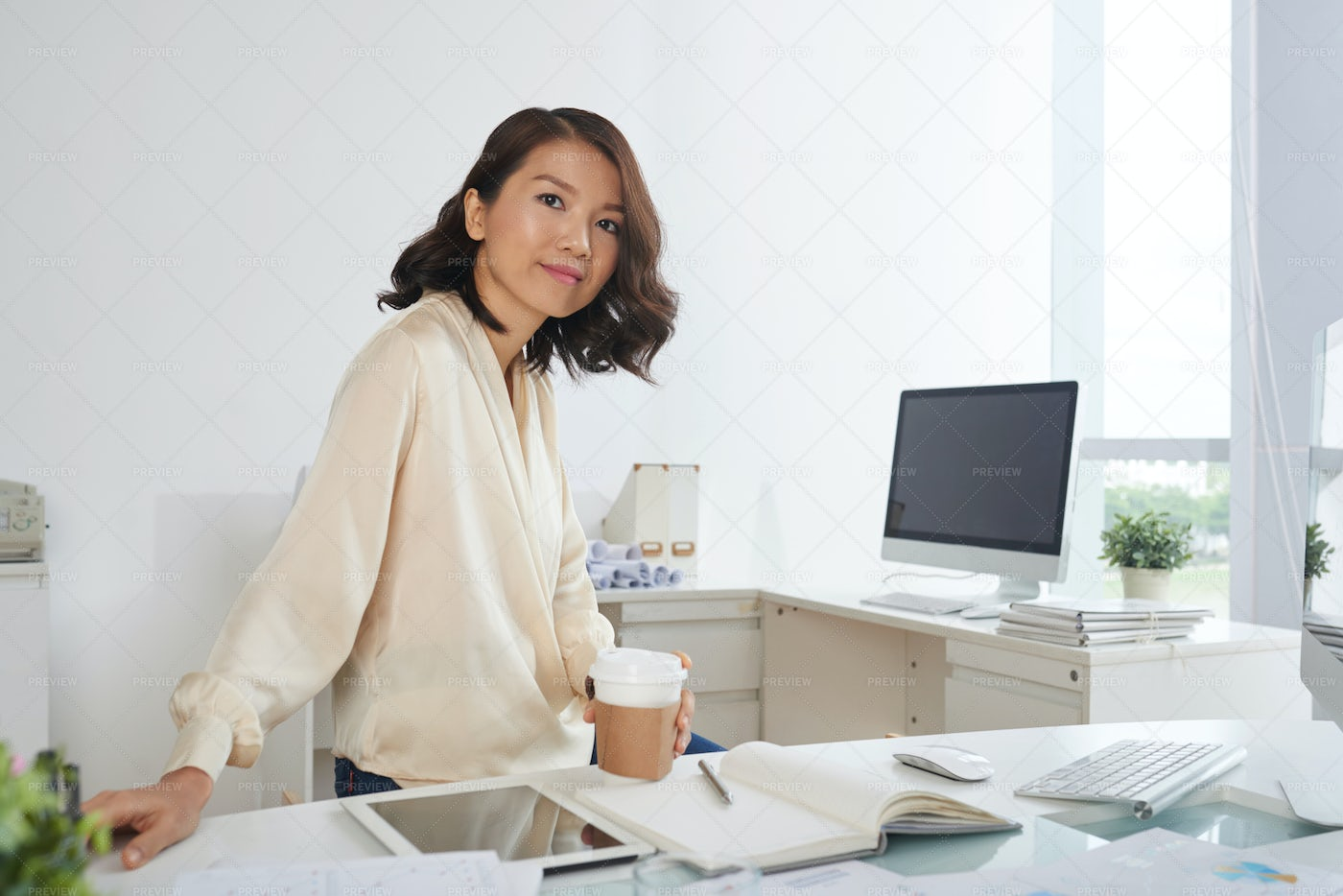 Young Businesswoman At Office: Stock Photos