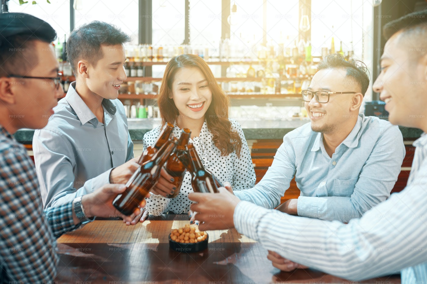 Colleagues Drinking Beer: Stock Photos