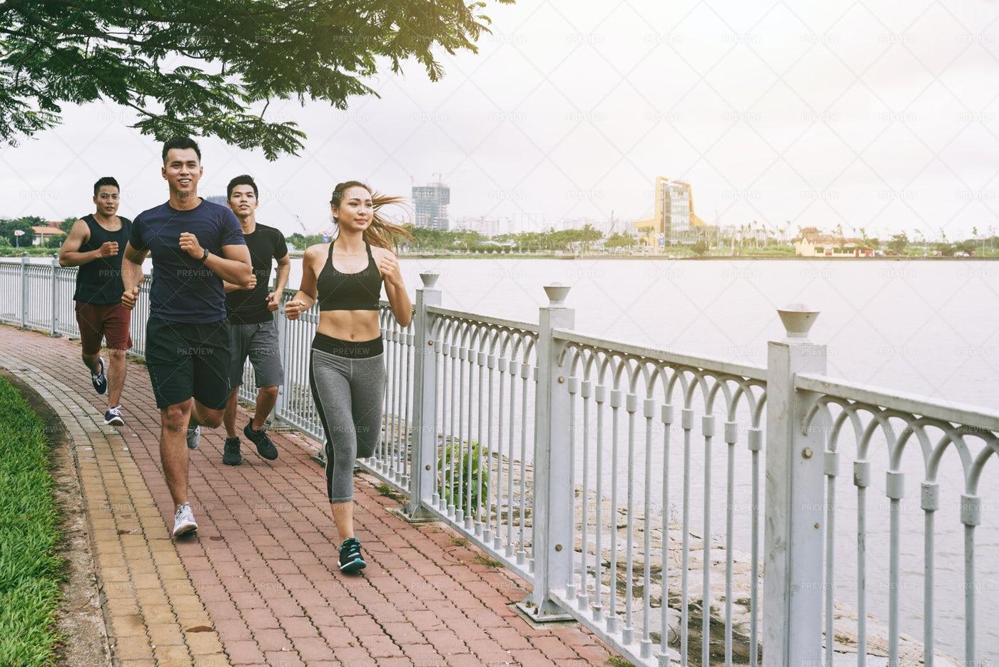 Jogging Along The River: Stock Photos