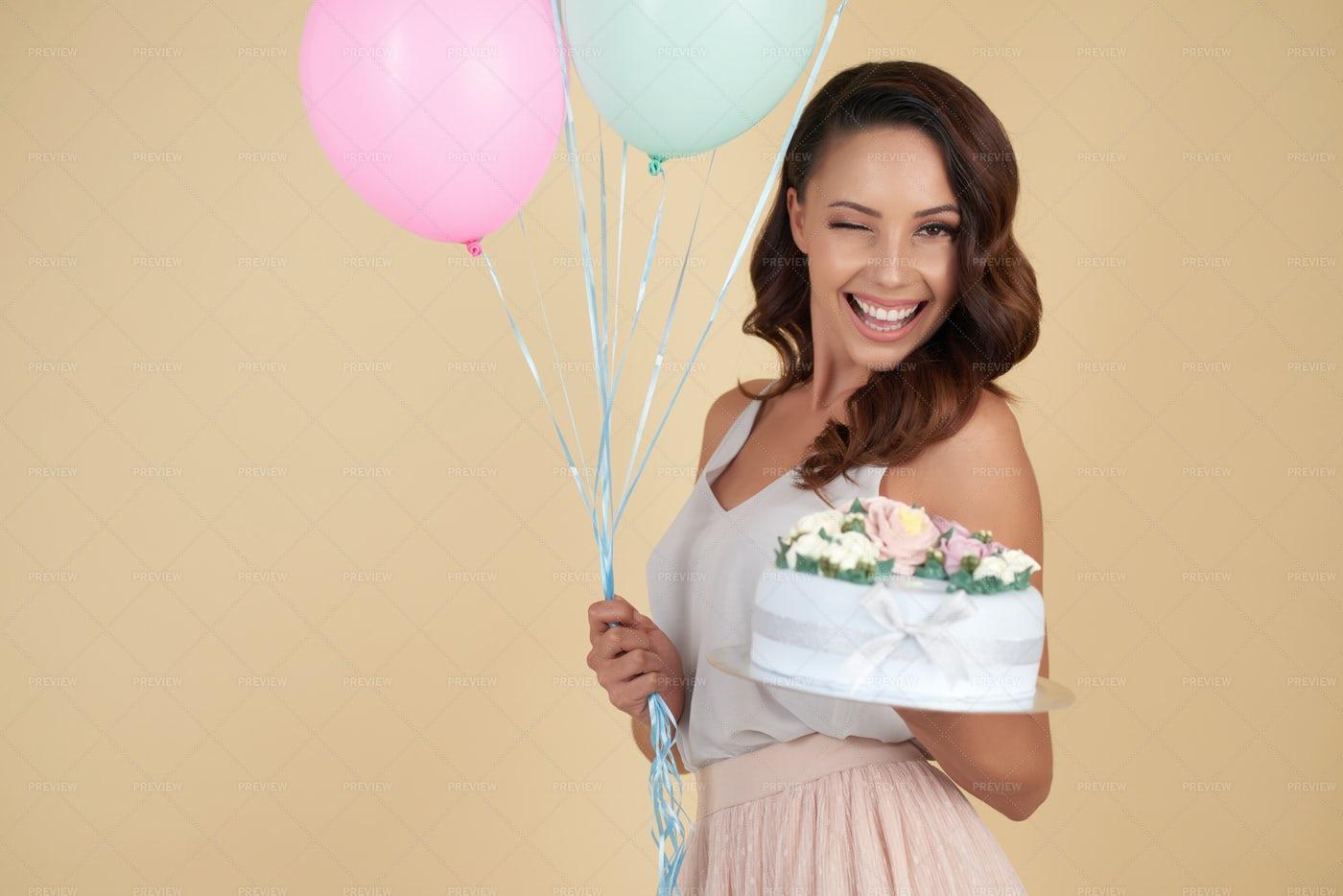 Happy Birthday Girl Winking At...: Stock Photos