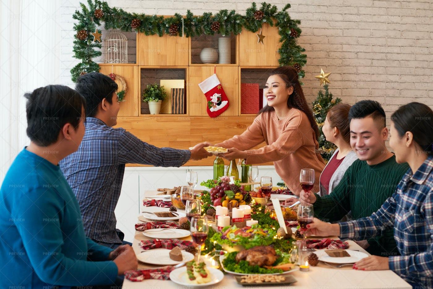 Friends Celebrating Christmas: Stock Photos