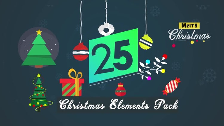 25 Christmas Elements Preset Pack: After Effects Templates