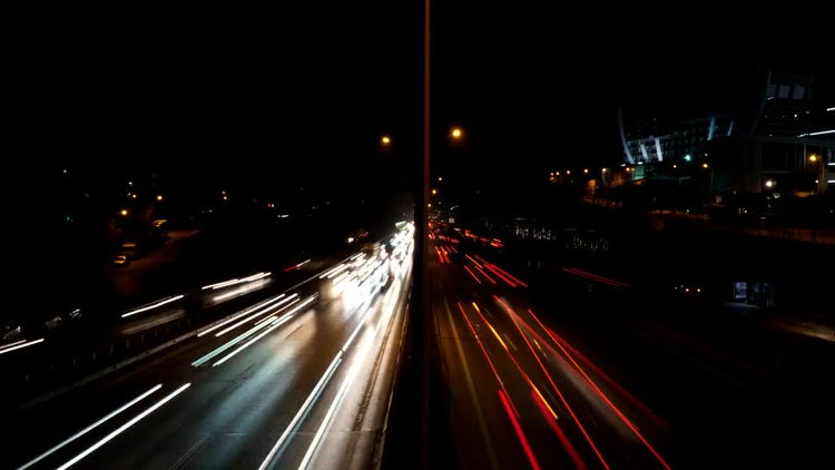 highway traffic timelapse night: Stock Video