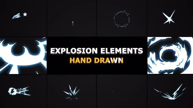 Hand Drawn Explosion Elements And Transitions: Stock Motion Graphics