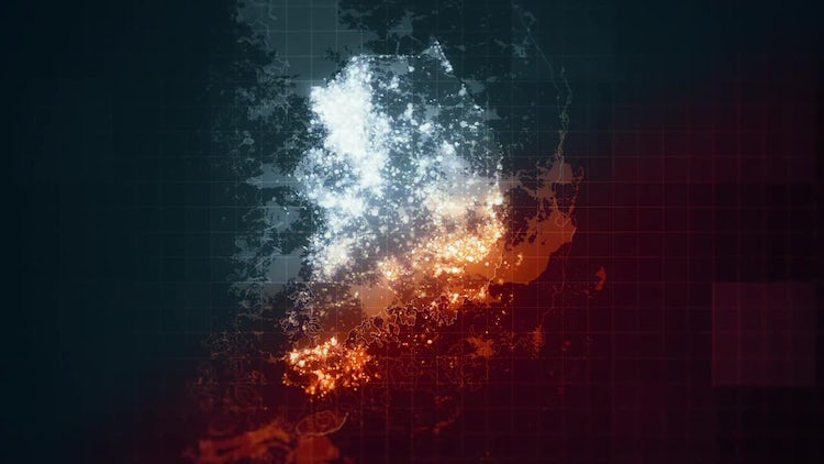 Pack South Korea Maps Night Lighting: Motion Graphics