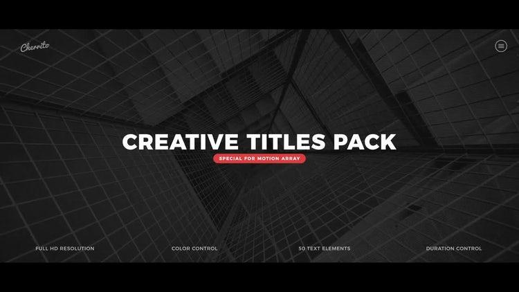 Creative Titles Pack: Premiere Pro Templates