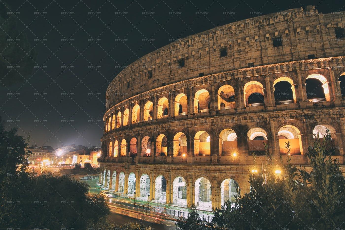 Coliseum In Night: Stock Photos