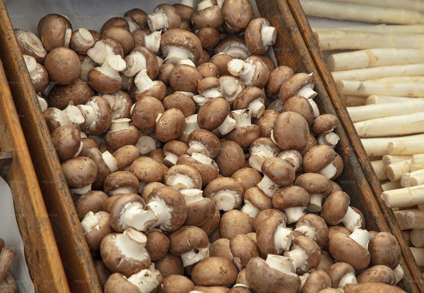 Mushrooms On A Box: Stock Photos