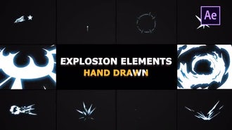 Hand Drawn Explosion Elements And Transitions: After Effects Templates