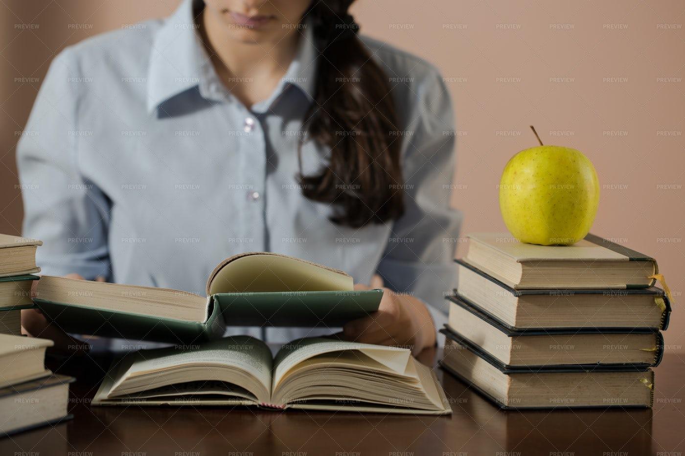 Reading Many Books: Stock Photos