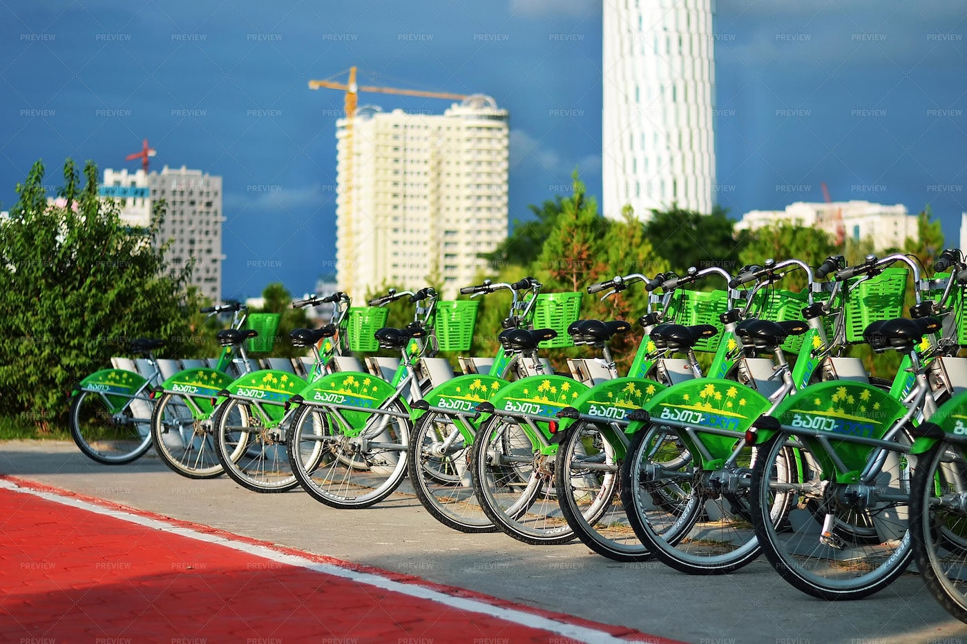 Bicycles Parked In Line: Stock Photos