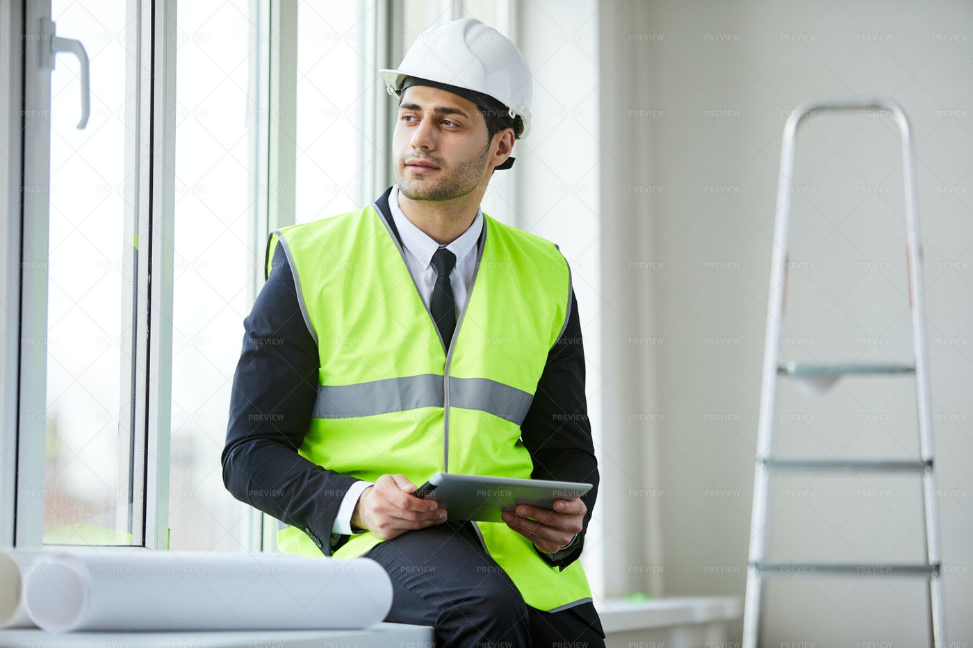 Handsome Businessman On Site: Stock Photos