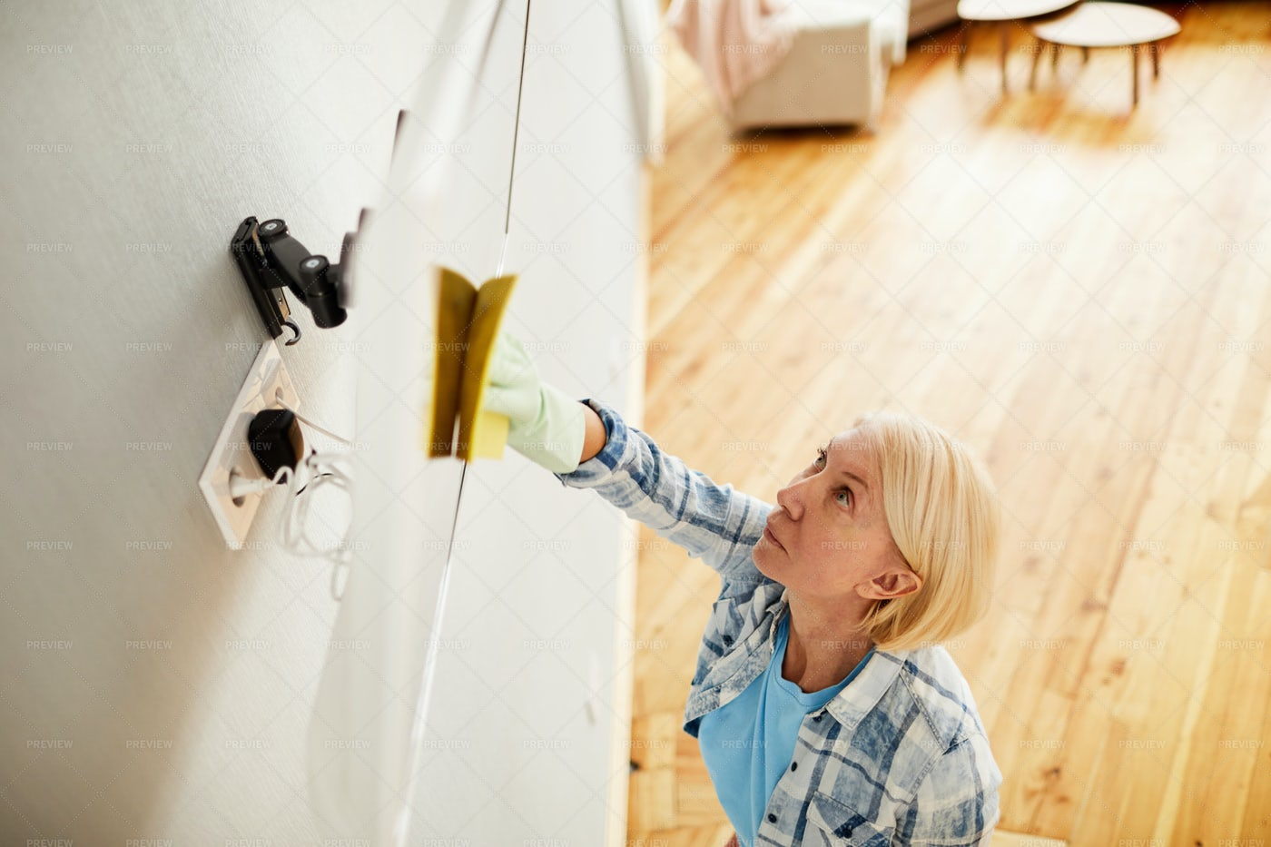 Busy Woman Wiping Television Set: Stock Photos