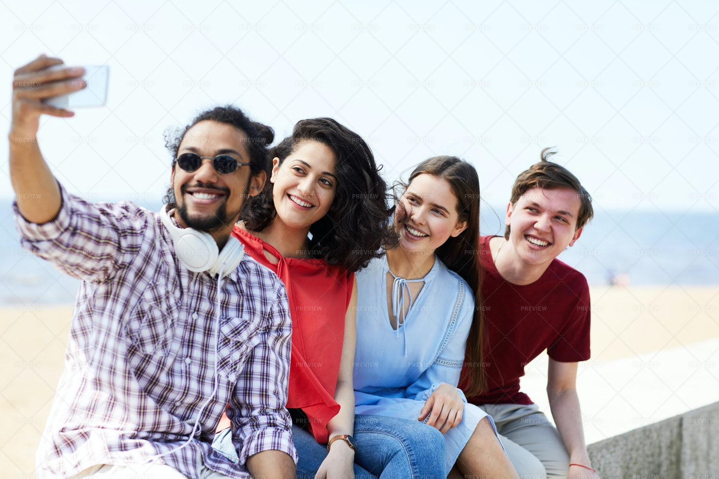 Friends Taking Selfie At Beach: Stock Photos