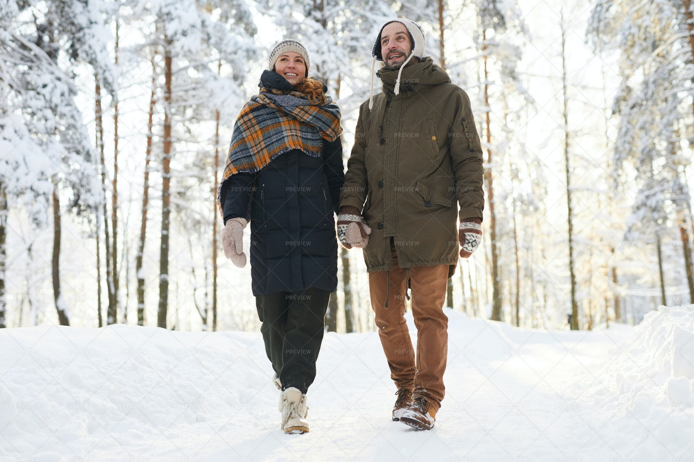 Loving Couple Enjoying  Walk In...: Stock Photos