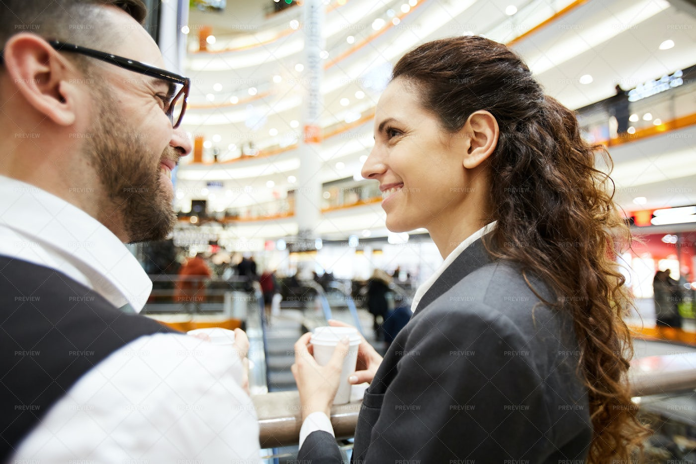 Having Drinks In The Mall: Stock Photos