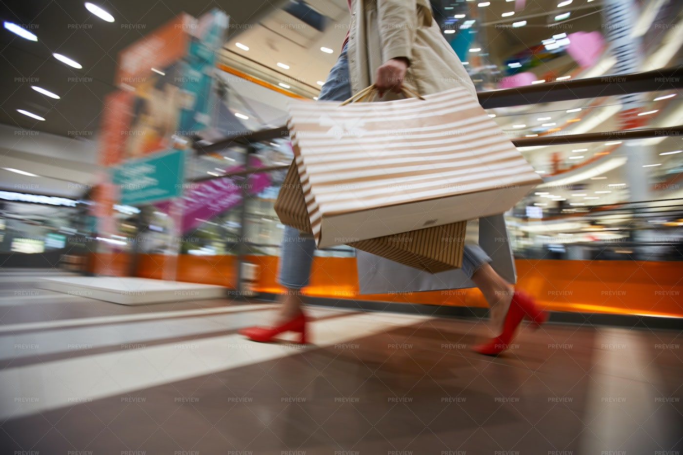 Lady Doing Shopping In Mall: Stock Photos
