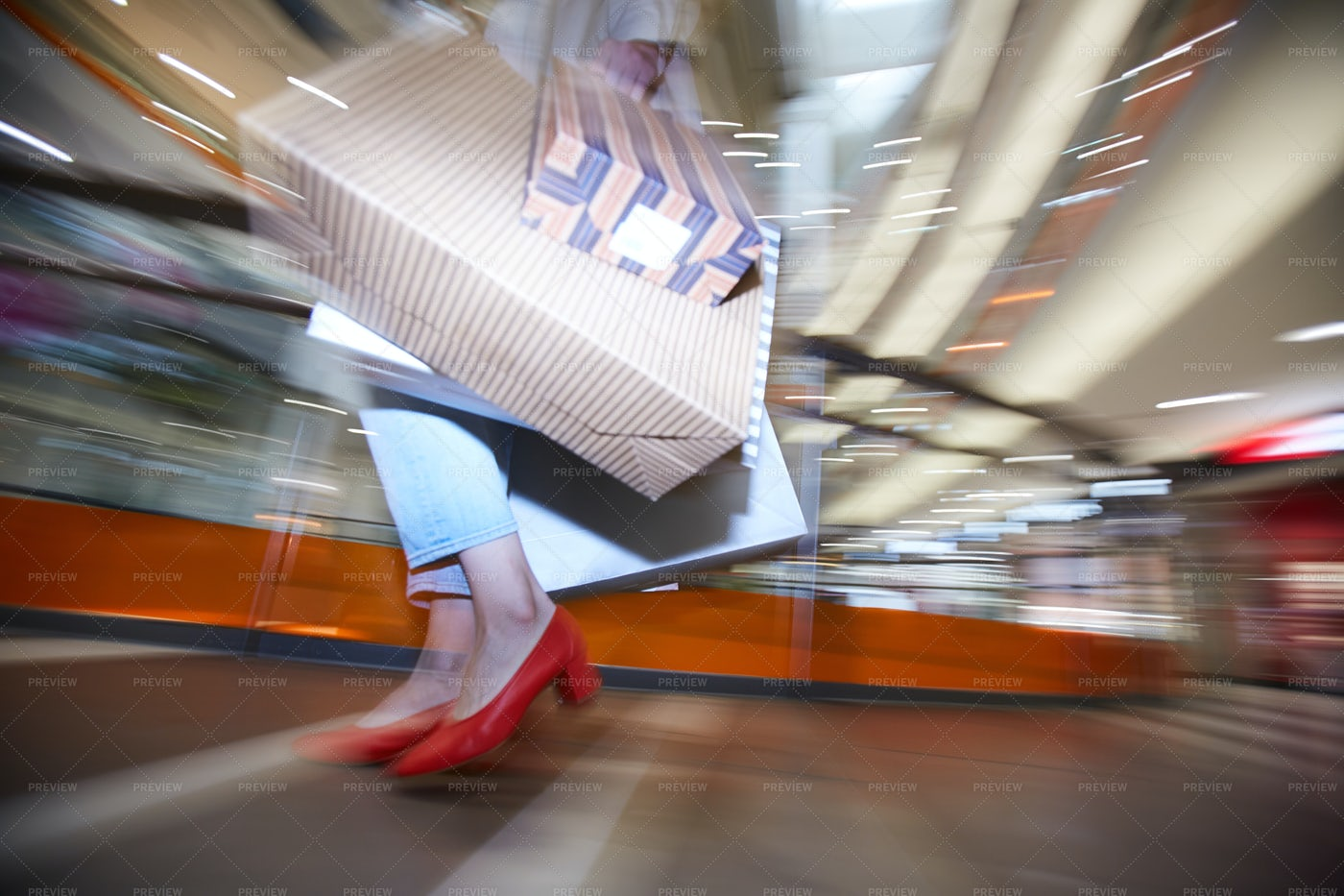 Fashion Girl With Shopping Bags: Stock Photos