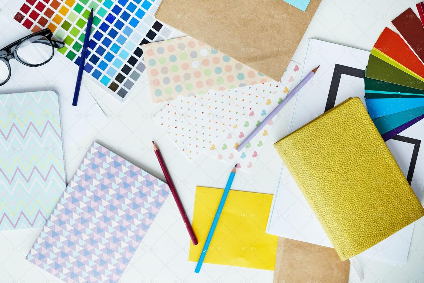 Pastel Office Supplies: Stock Photos