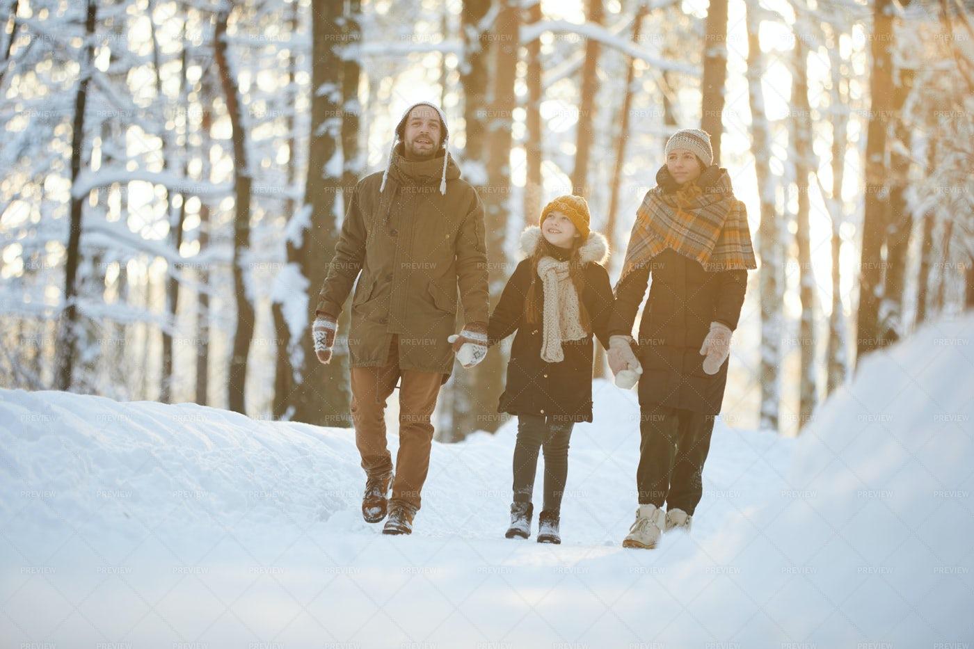 Happy Family Enjoying Walk In...: Stock Photos