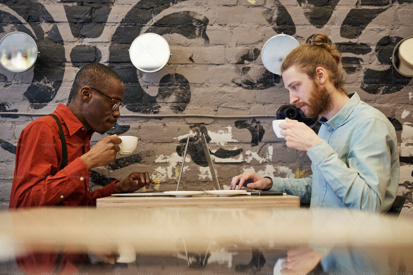 Freelancers In Cafe: Stock Photos