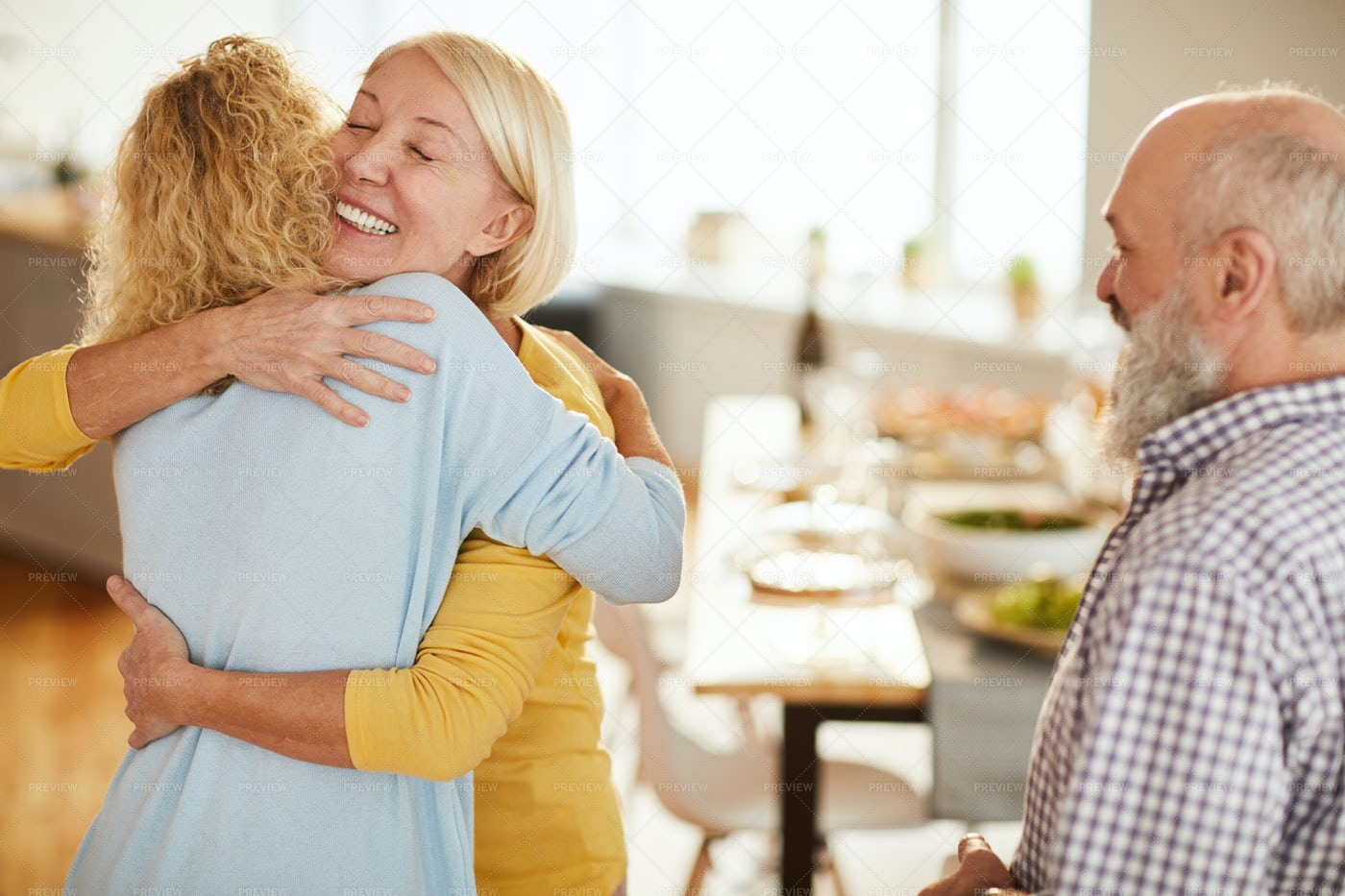 Happy Lady Glad To See Friends: Stock Photos
