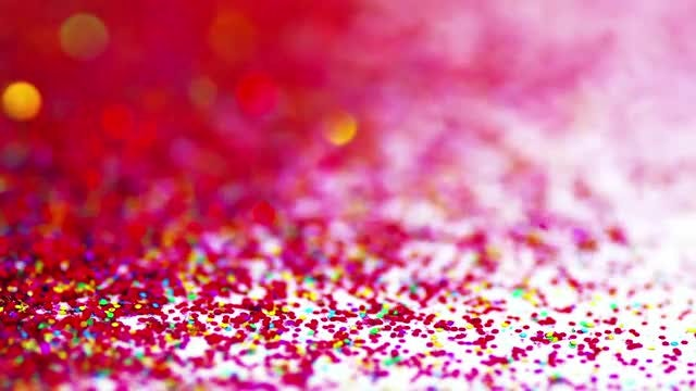 Red Glitter Falling On White: Stock Video