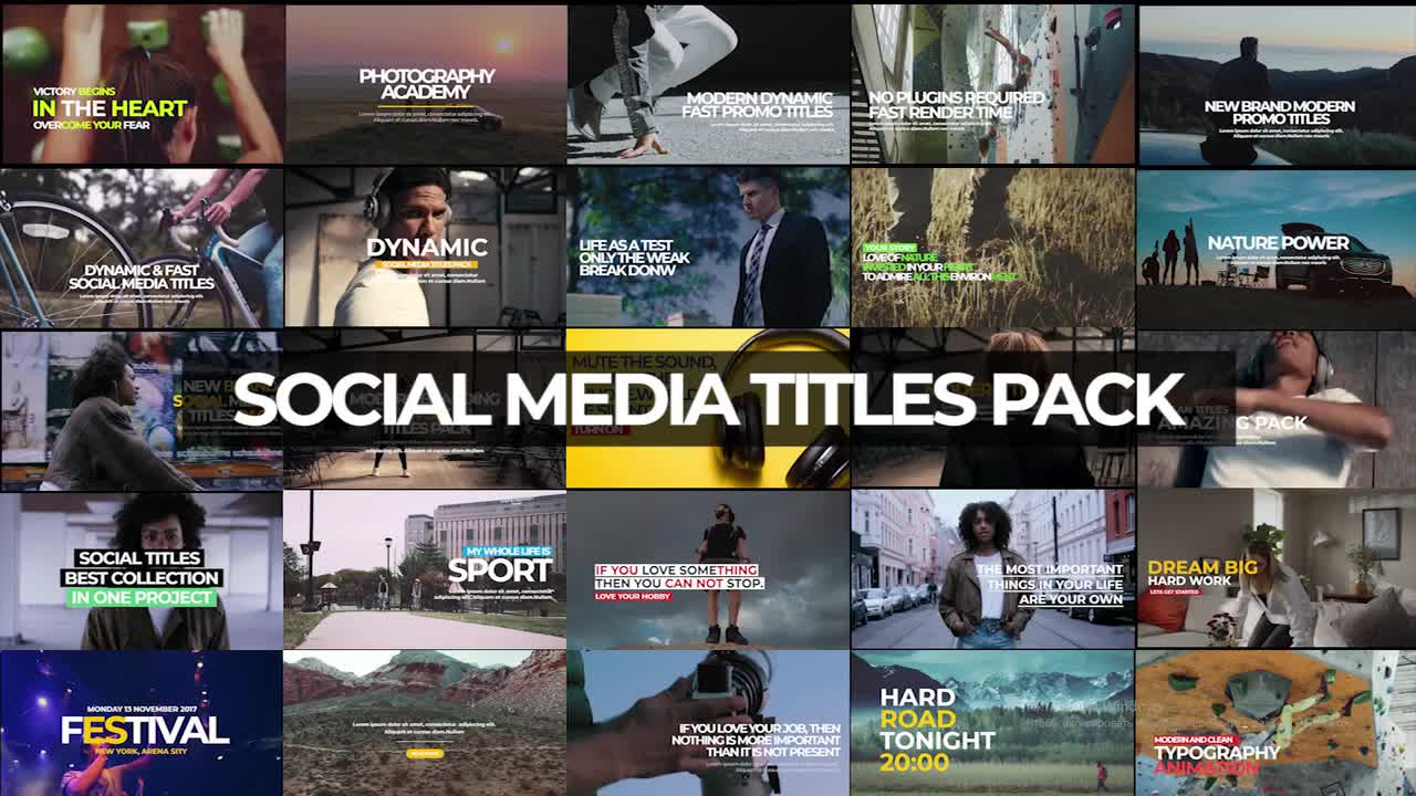 30 Social Media Titles Pack Premiere Pro Templates 54760 Free download