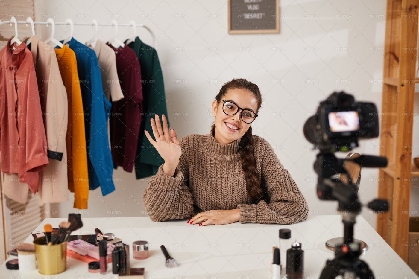 Woman Filming Beauty And Fashion...: Stock Photos