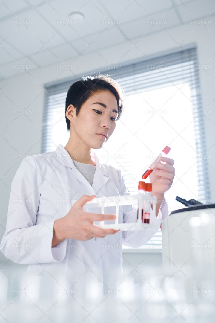 Examining Blood Sample In Lab: Stock Photos