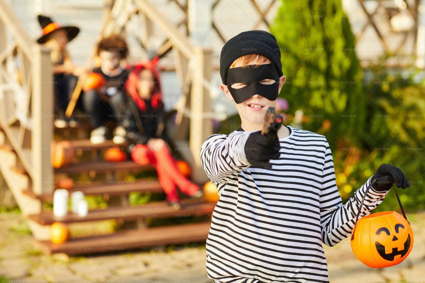 Little Robber On Haloween: Stock Photos
