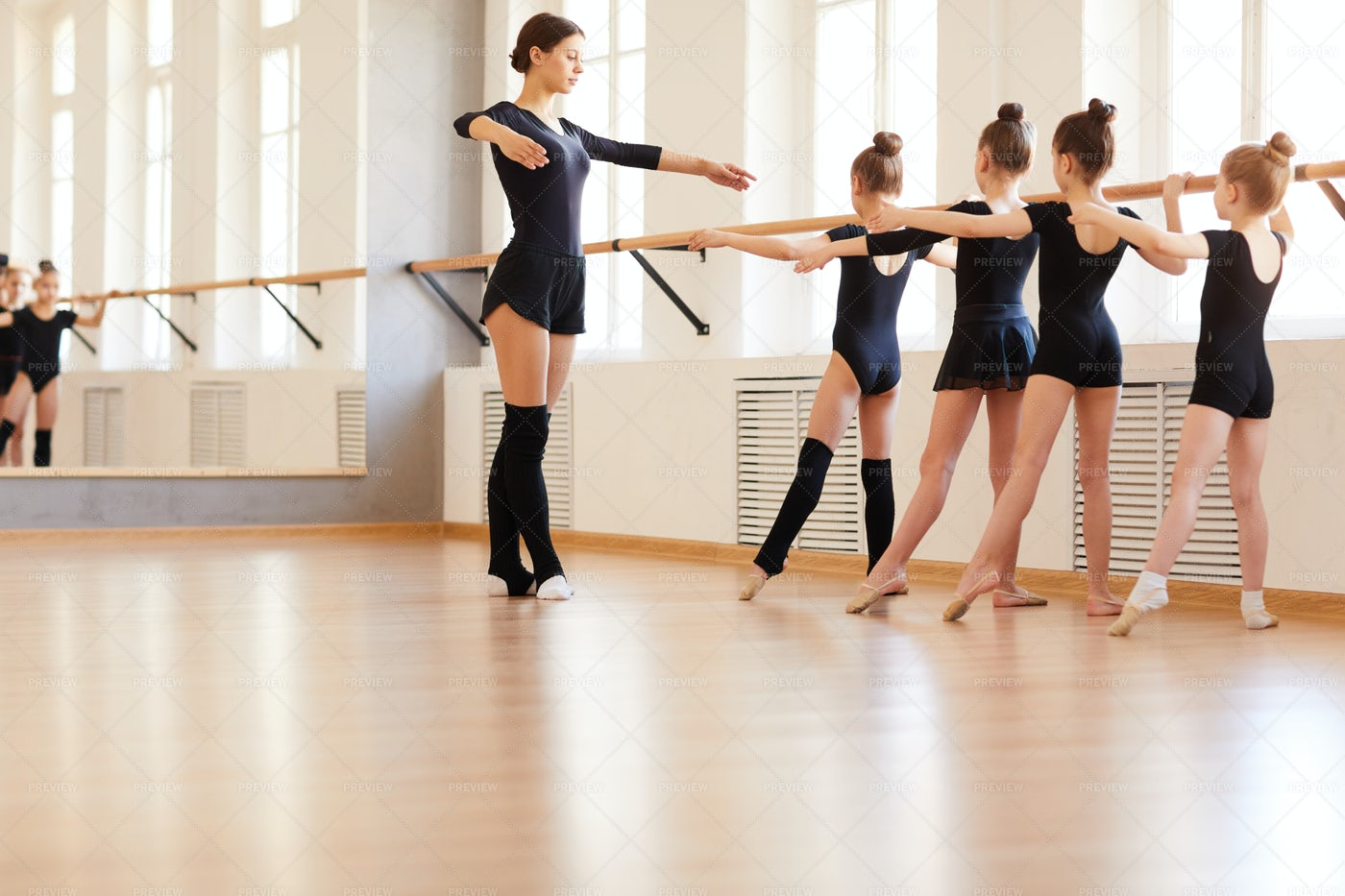 Girls In Ballet School: Stock Photos