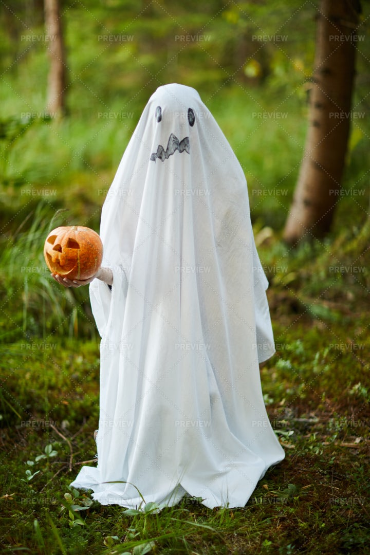 Halloween Ghost In Woods: Stock Photos