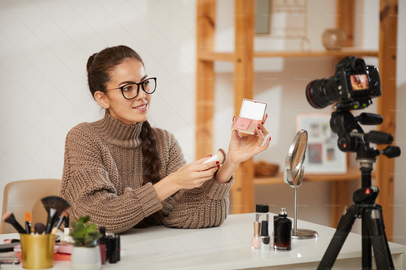 Young Woman Testing Beauty Products...: Stock Photos