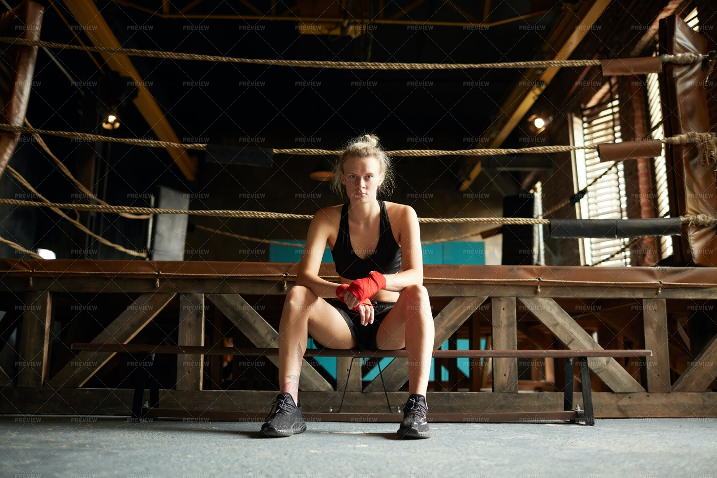 Tough Woman By Boxing Ring: Stock Photos