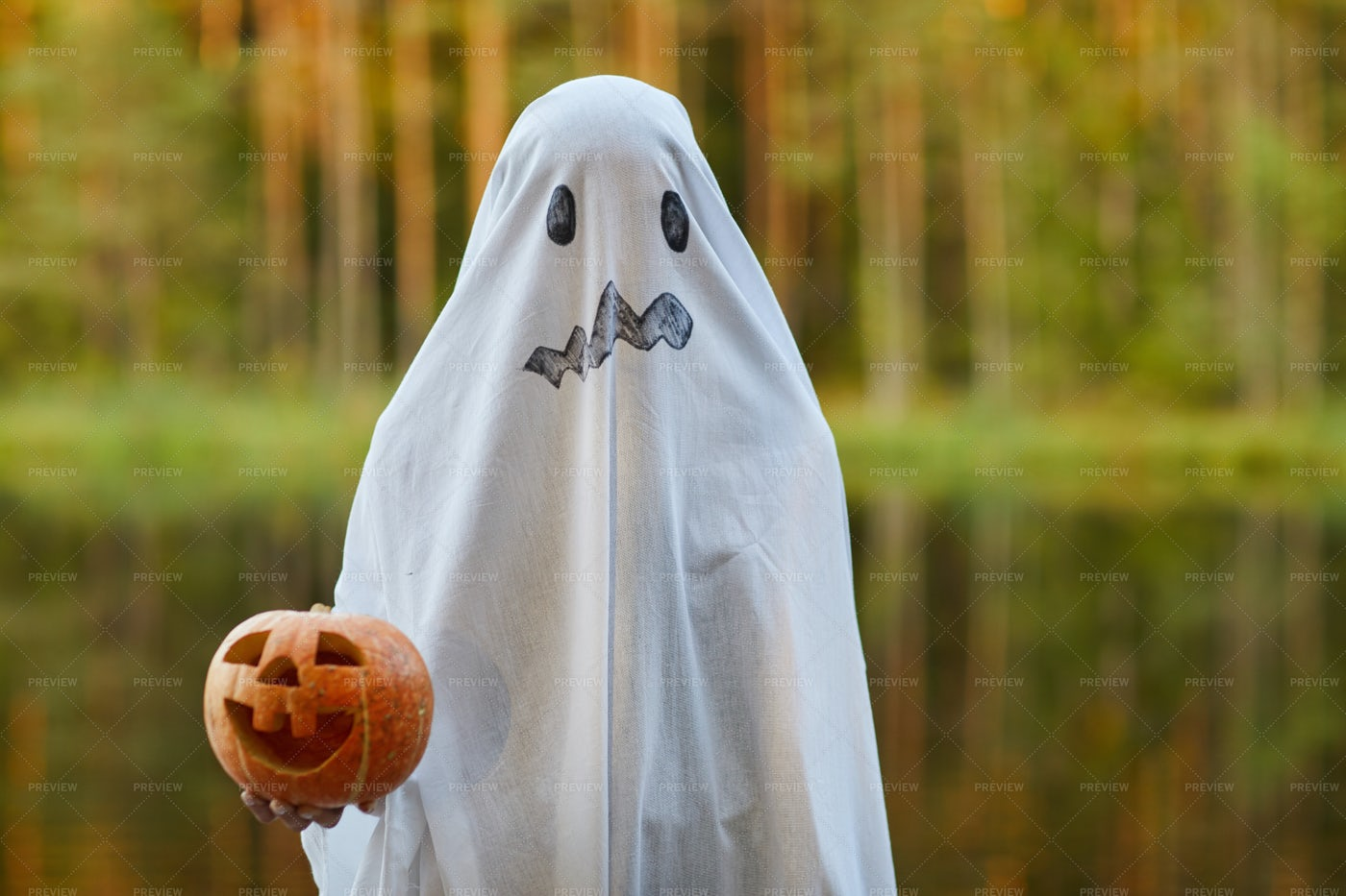 Child In Ghost Costume On Halloween: Stock Photos