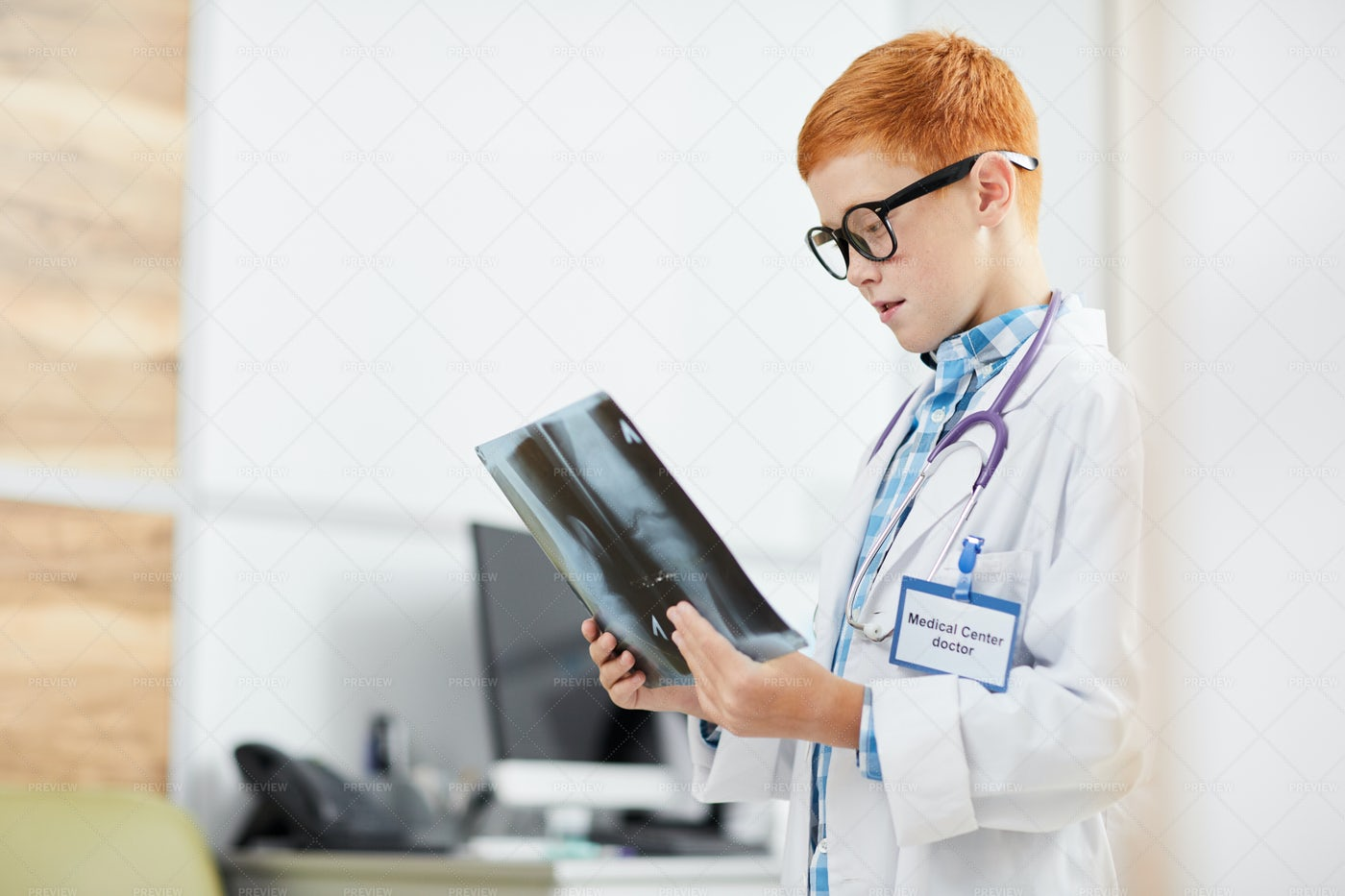 Little Boy Playing Doctor: Stock Photos