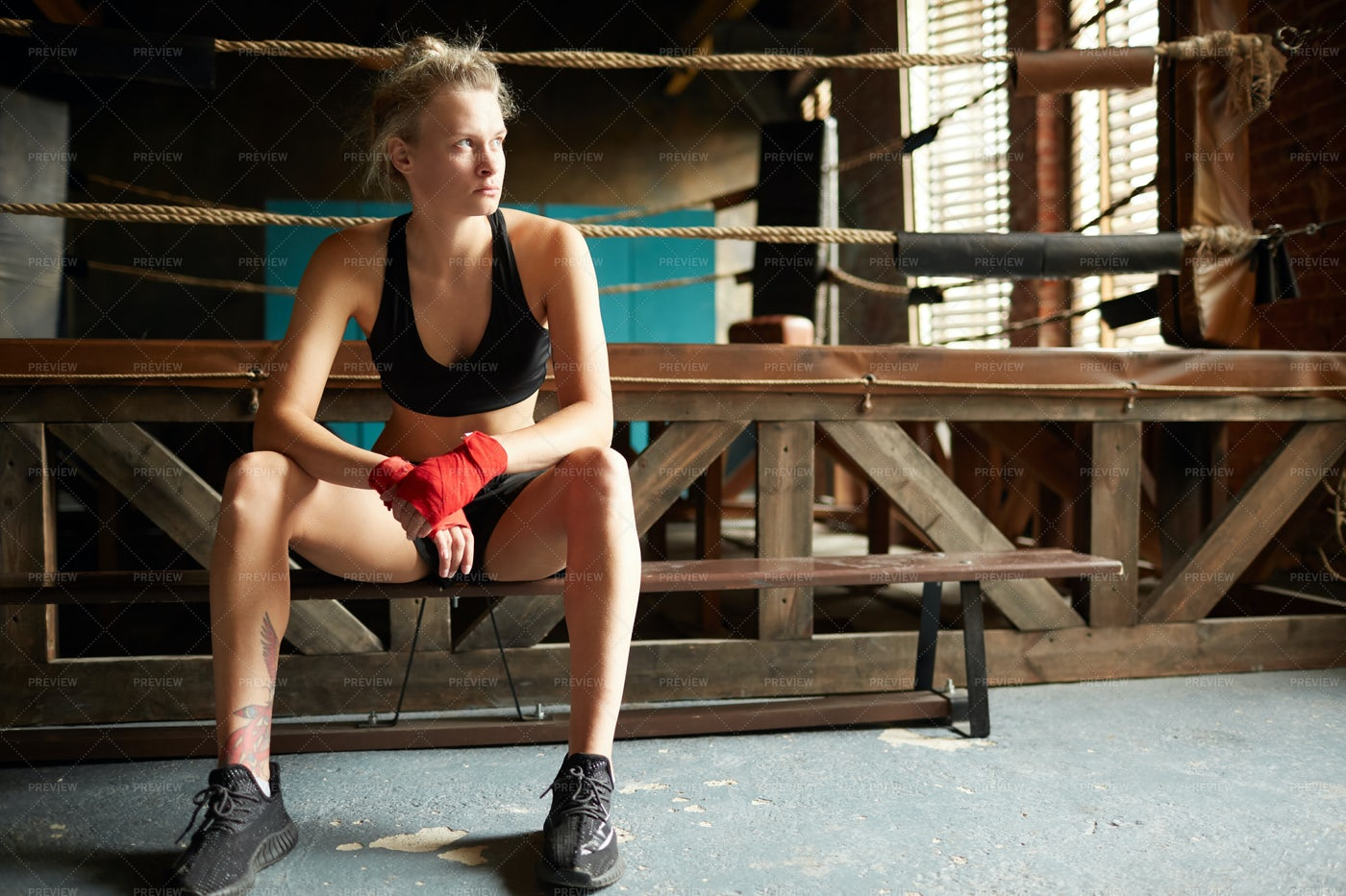 Female Fighter By Boxing Ring: Stock Photos