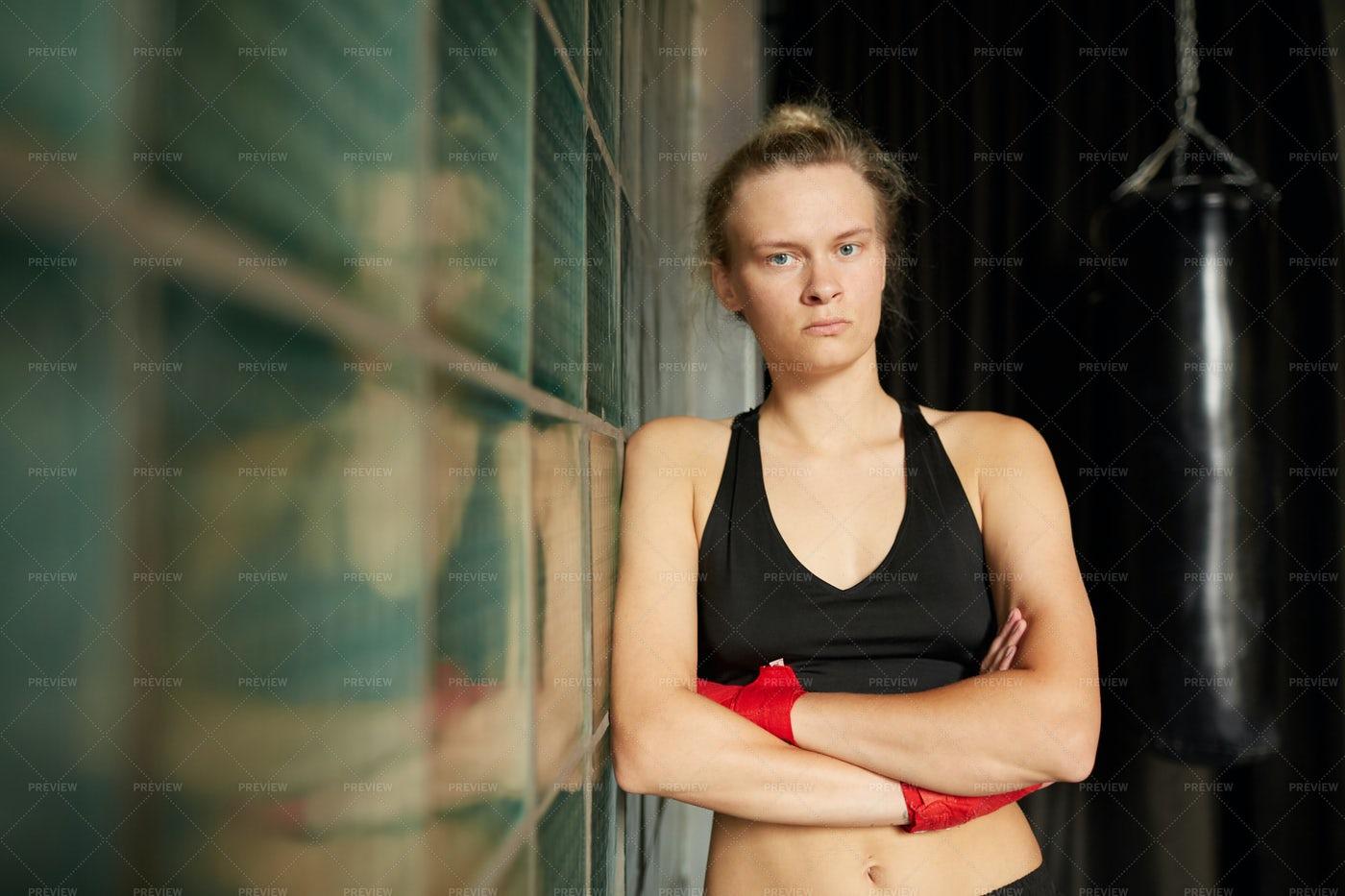 Tough Woman Posing In Gym: Stock Photos